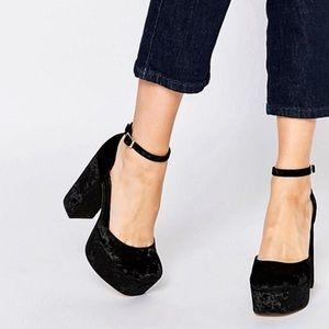 ASOS Shoes - ASOS Pablo platform black velvet shoes 8